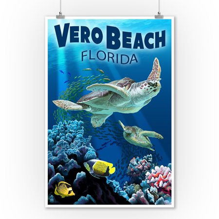 Sea Turtles - Vero Beach, Florida - Lantern Press Poster (9x12 Art Print, Wall Decor Travel (Vero Beach Florida Mall)