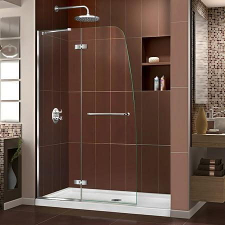 Shower Door Base (DreamLine Aqua Ultra 34 in. D x 60 in. W x 74 3/4 in. H Frameless Shower Door in Chrome and Center Drain White Base Kit)