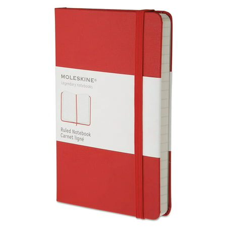 - Moleskine Hard Cover Notebook, Ruled, 5 1/2 x 3 1/2, Red Cover, 192 Sheets