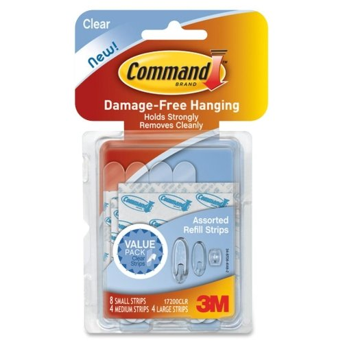 Command Assorted Refill Strips, White, 16pk