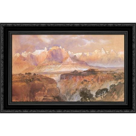 Cliffs of the Rio Virgin, South Utah 24x17 Black Ornate Wood Framed Canvas Art by Moran, - Rio Virgin