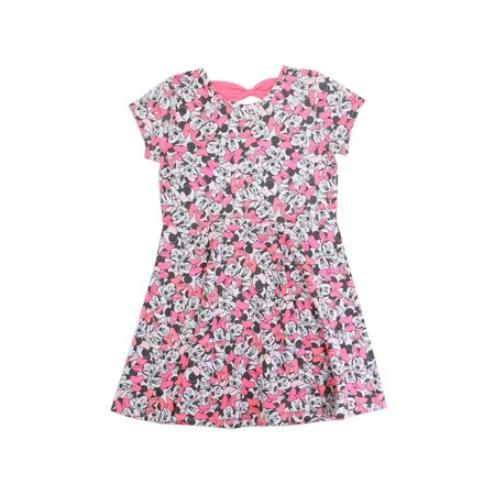 Disney Little Girls' Minnie Mouse Allover Print Knit Dress, Hot Pink (4) - Minnie Mouse Pink Dress