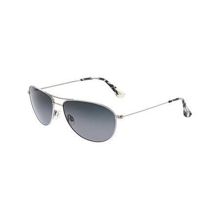 Maui Jim Women's Polarized Sea House GS772-17 Silver Aviator Sunglasses