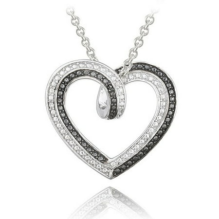 Black and White Diamond Accent Silver-Tone Reversible Necklace