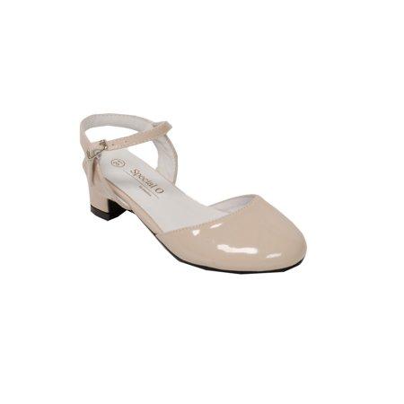 d931075654d Pazitos Girls Patent Naturel D Orsey Buckle Kitten Heel Shoes