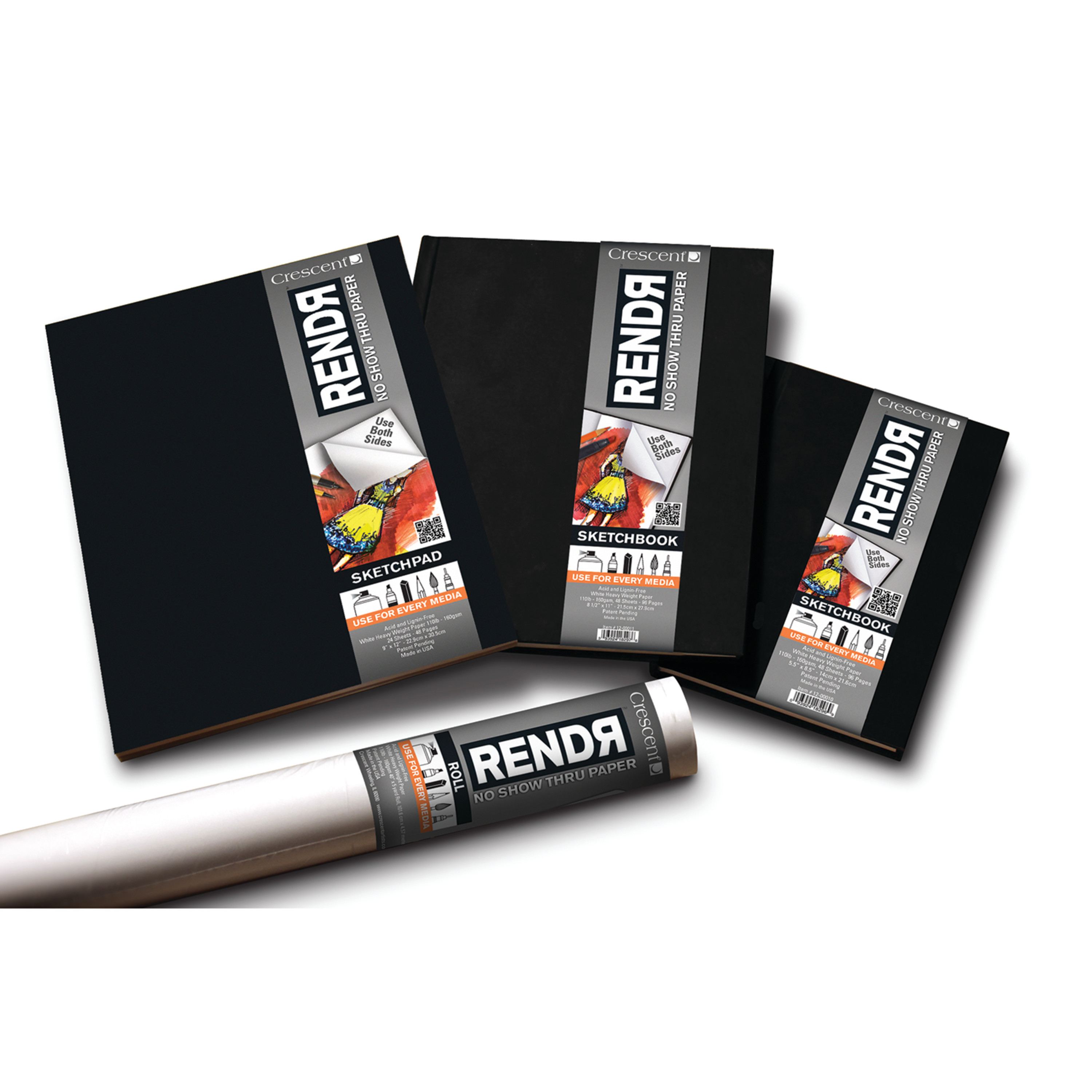 Crescent RENDR Hard-Cover Sketch Book, 5.5in x 8.5in 48/Sheets