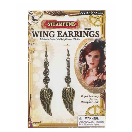 Womens Western Cowboy Steampunk Gold Wing Earrings Costume Accessories