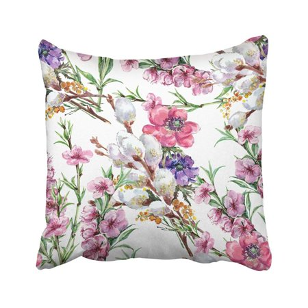 BSDHOME Pink Beautiful Willow And Flower Peach Watercolor Pattern White Birthday Blossom Bouquet Pillowcase Throw Pillow Cover 18x18 inches - image 1 of 1