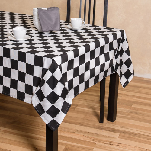 Linen Tablecloth Checker Board Rectangular Cotton Tablecloth by