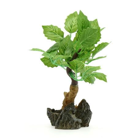 Green Plastic Lifelike  Plant Aqua Landscape Decorative Ornament w/ Stand