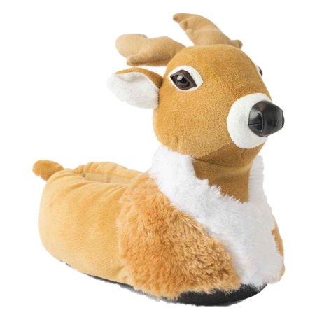 38fbc1e95a52 Holiday - Mens Plush Brown Reindeer Slippers Adult Deer House Shoes -  Walmart.com