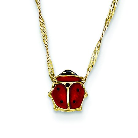 14K Yellow Gold Enameled Ladybug Necklace Jewelry