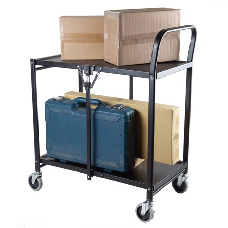 2 Tier Cart (Collapsible 2 Tier Rolling Utility Storage Cart - Solid)