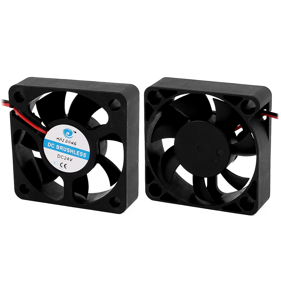 2DC 24V 0.06A 5x5x1.5cm 2-Wire 7 Vanes Black Cooling Fan for PC Case Cooler