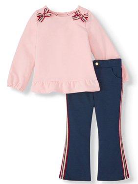 Wonder Nation Peplum Top & Racer Stripe Ponte Pants, 2pc Outfit Set (Toddler Girls)