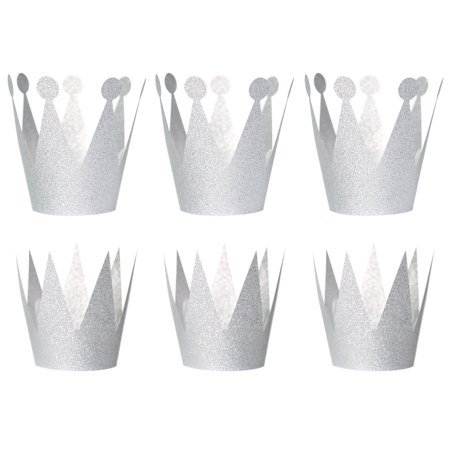 6PCS Glitter Birthday Crown Hats Party Hats Princess Prince Crowns for Kids and Adults Party Decorations (Silver) - Prince And Princess Party