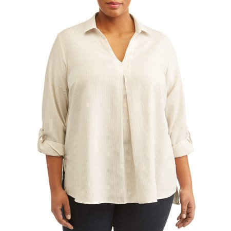 Women's Plus Sized High Low Tab Sleeve Blouse