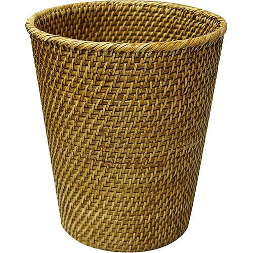 Elite Home Fashions Wastebasket, Rattan, Honey