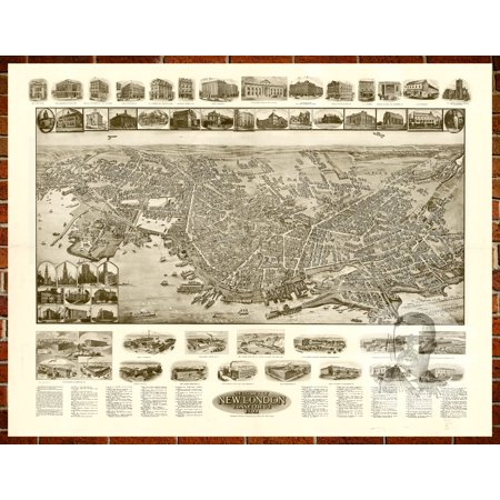 - Ted's Vintage Art Map of New London, CT 1911; Old Connecticut Decor 12