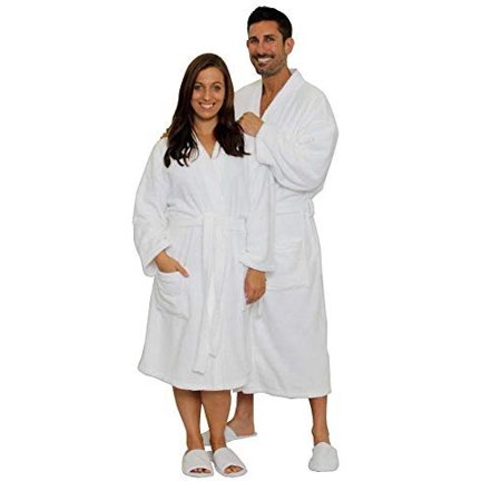 JMR 100% Cotton Terry White Men & Women Bathrobe, Kimono,Collar, Tie-belt, , Economical Spa/Hotel Robe
