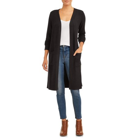 Time and Tru Women's Hacci Duster Cardigan With Pockets Gap Print Cardigan