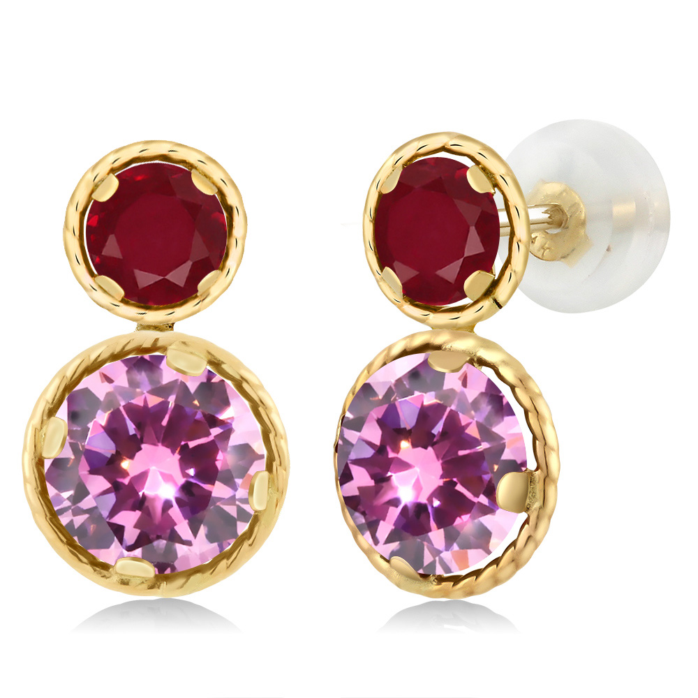 3.68 Ct Round Pink Zirconia Red Ruby 14K Yellow Gold Earrings by