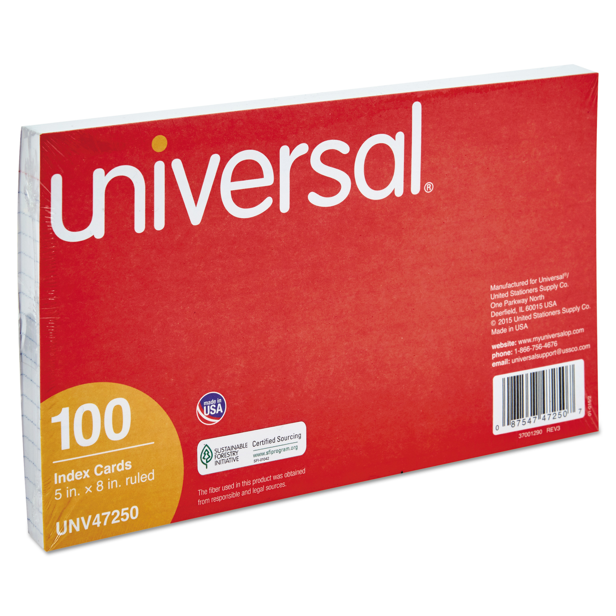 Universal Ruled Index Cards, 5 x 8, White, 100/Pack