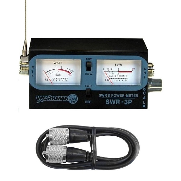WORKMAN SWR-3P CB RADIO ANTENNA SWR / TEST METER WITH 3` JUMPER COAX