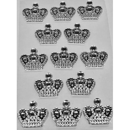 3 Sheets of Silver Crown Prince Princess Sticker Charms 3D Baby Shower or Birthday Scrapbooking Self Adhesive Stickers Party Motives Favor Decorations - Prince And Princess Party