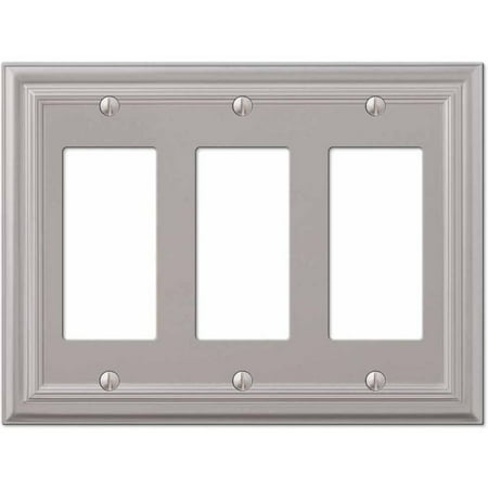 Continental Satin Nickel Cast Triple Rocker Wallplate