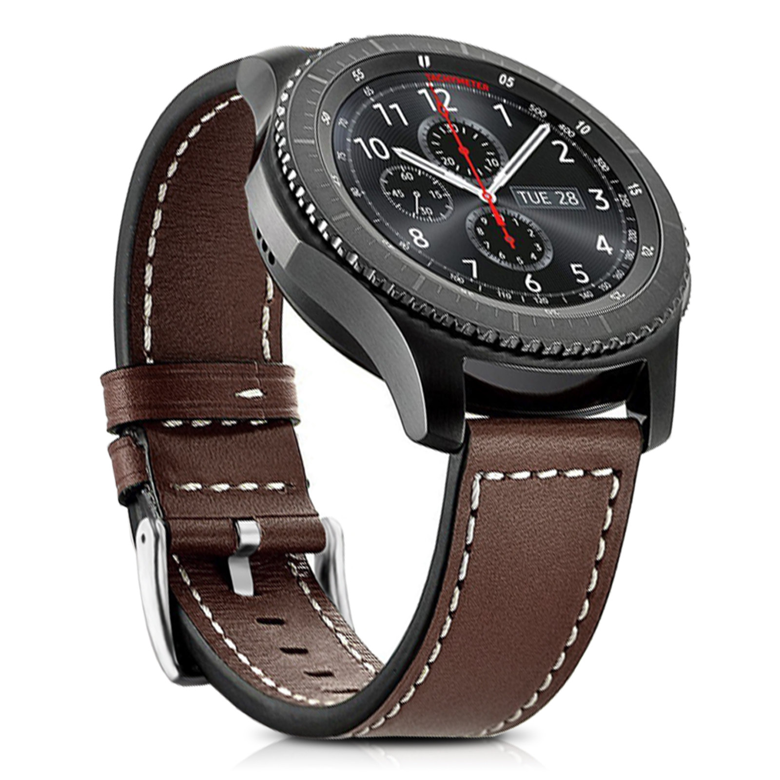 TSV Genuine Leather Watch Band, 22mm Genuine Leather Band with Buckle Strap Replacement Wristband for Samsung Gear S3 Frontier / Classic Smart Watch