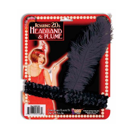 Black Sequin Flapper Headband Halloween Costume Accessory - Heavy Metal Band Halloween