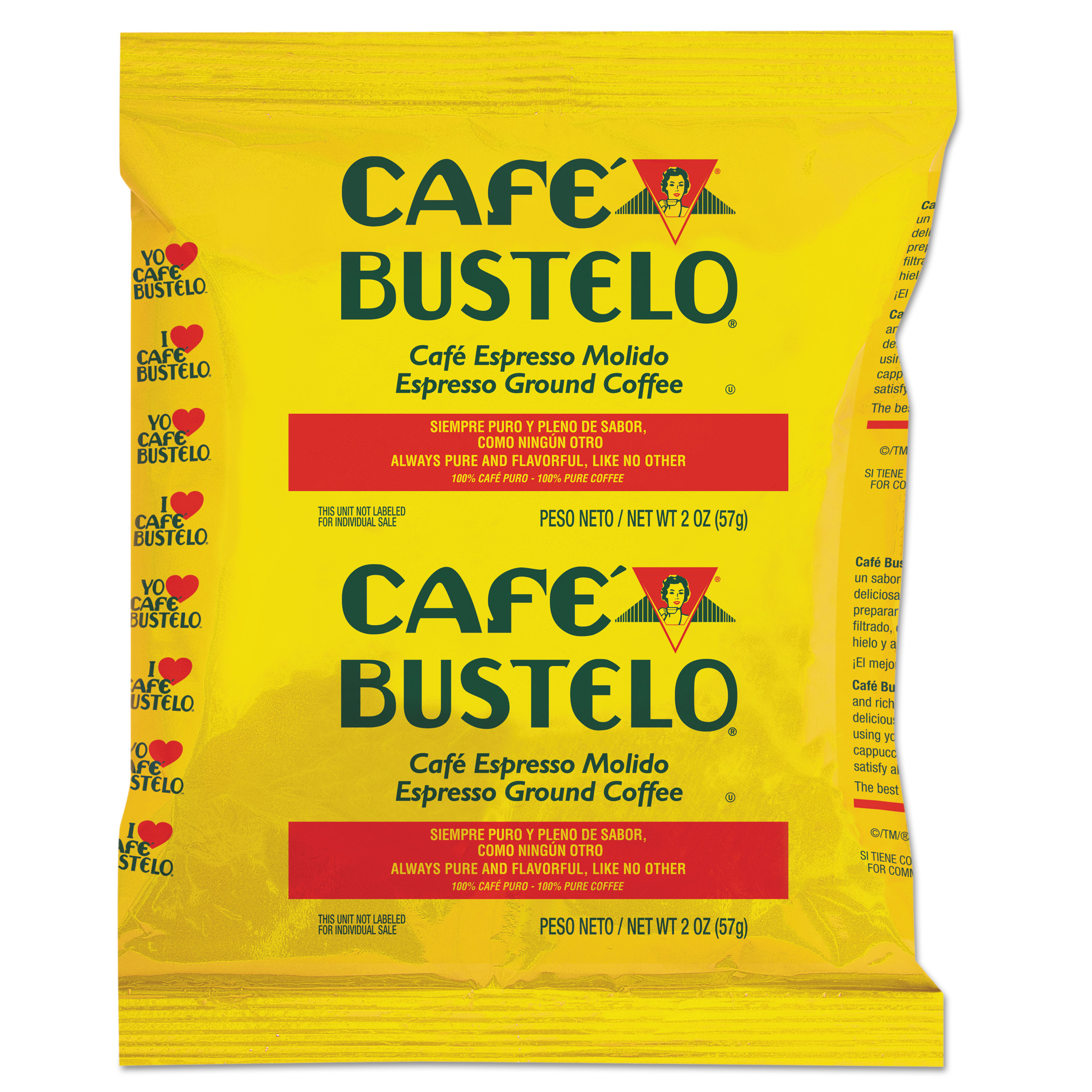 Cafe Bustelo Espresso Ground Coffee Fraction Packs, 2 oz, 30 count