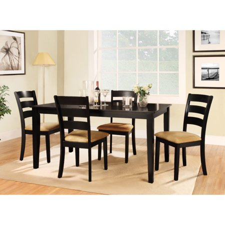 Homelegance Weton Home Tibalt 5 Piece Rectangle Black Dining Table Set - 60 in. with Ladder Back - Homelegance Home Theater