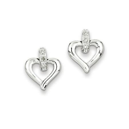 12mm Open Heart Diamond Accent Post Earrings in Sterling Silver