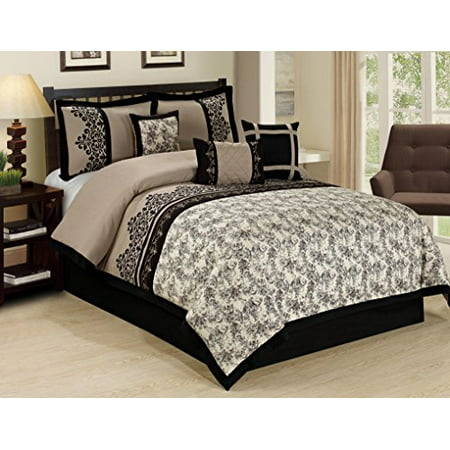 7 piece lupe crowded flower print clearance bedding comforter set fade resistant wrinkle free. Black Bedroom Furniture Sets. Home Design Ideas