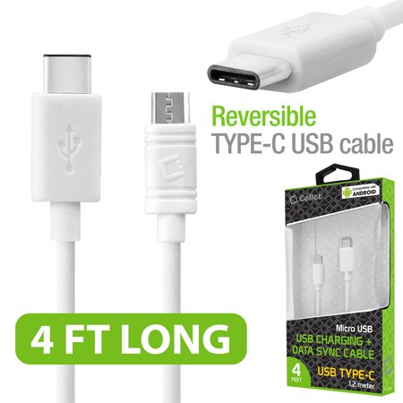 Cellet microUSB to USB Reversible Type-C Cable for Samsung Galaxy Note 9 & 8, Galaxy S8, S8 Plus and Nexus 5X, Nexus 6P, Nokia Lumia 950/950 XL, OnePlus 2, Nokia N1, HTC 10, Android Devices and