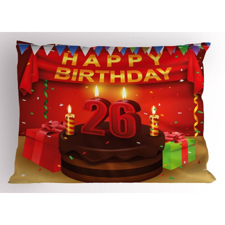 26th Birthday Pillow Sham Chocolate Cake with Candles and Ribbons Surprise Event Best Wishes Image, Decorative Standard Queen Size Printed Pillowcase, 30 X 20 Inches, Multicolor, by