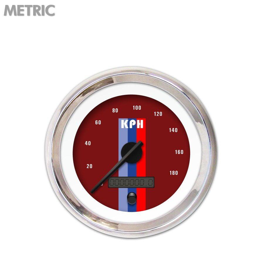 Aurora Speedometer Gauge - Metric Vintage Autobahn Red , ...