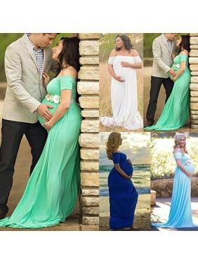 Maternity Off Shoulder Elegant Dresses Pregnancy Clothes Pregnant Women Photo Shoot Photography Props