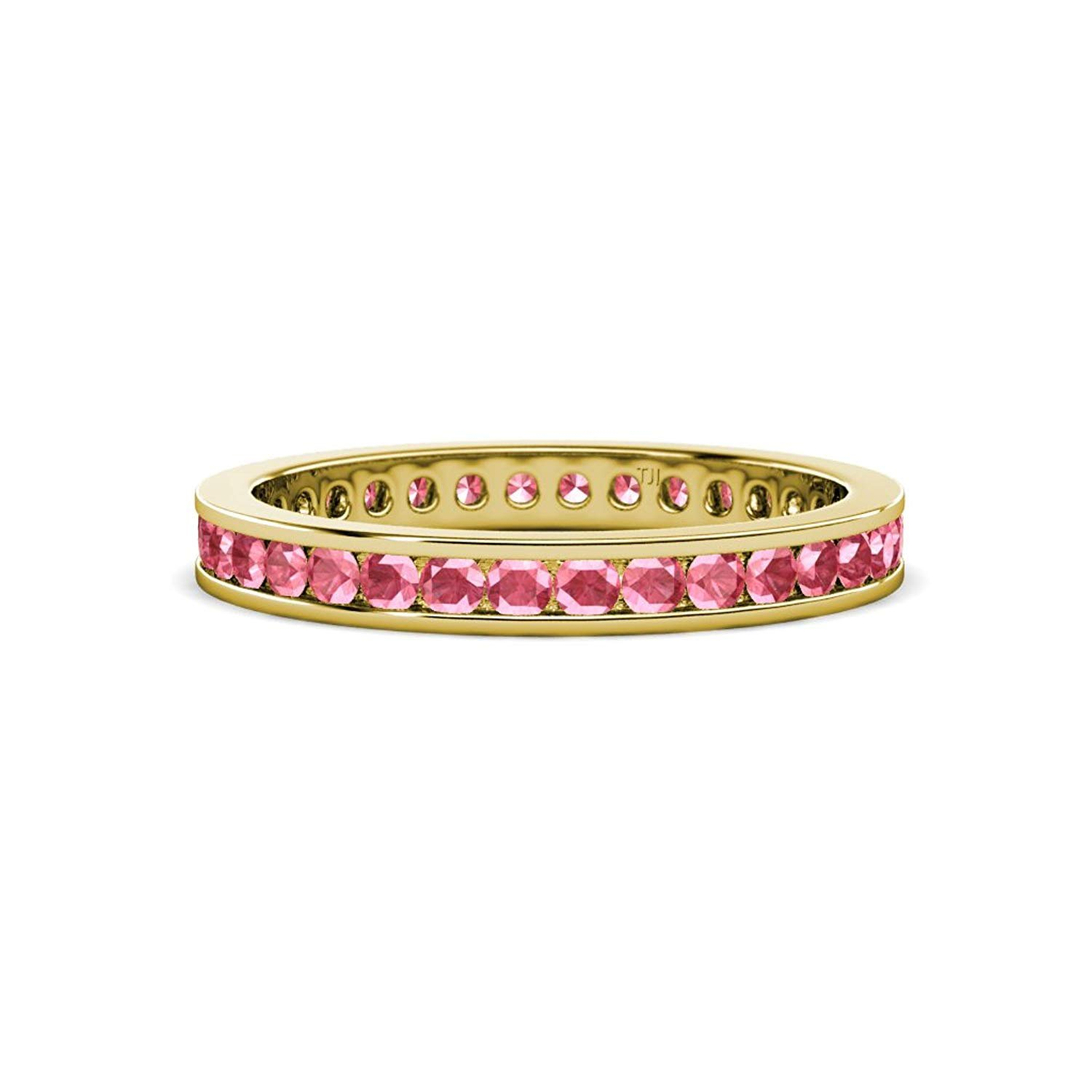 Pink Tourmaline 2mm Channel Set Eternity Band 0.59 Carat tw-0.70 Carat tw in 14K Yellow Gold.size 4.25 by TriJewels
