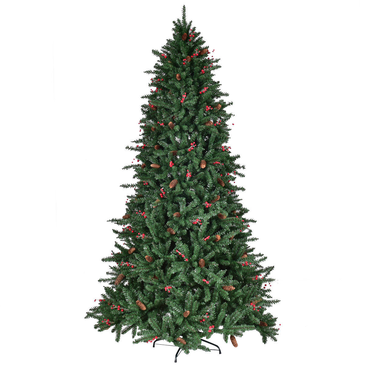 Red Red Pine Christmas Tree: Gymax 7' Artificial PVC Christmas Tree Red Berries & Pine