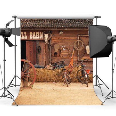 Old West Props (ABPHOTO Polyester 5x7ft Rustic Farmland Old Barn Backdrop West Cowboy Vintage Wheel Straw Hay Bale Farm Tool Grunge Bicycle Wood Plank House Photography Background Kids Adults Photo Studio)
