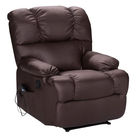 Goplus Recliner Massage Sofa Chair Deluxe Ergonomic Lounge Couch Heated W Control Brown