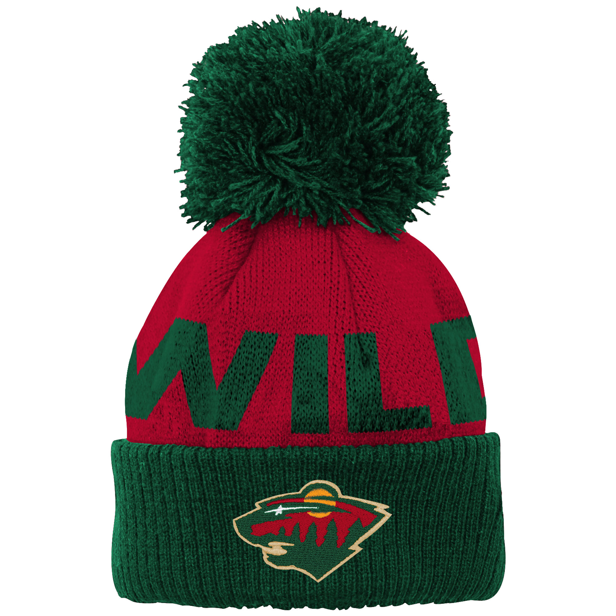 Minnesota Wild Newborn & Infant Block Wordmark Cuffed Pom Knit Hat - Red - OSFA