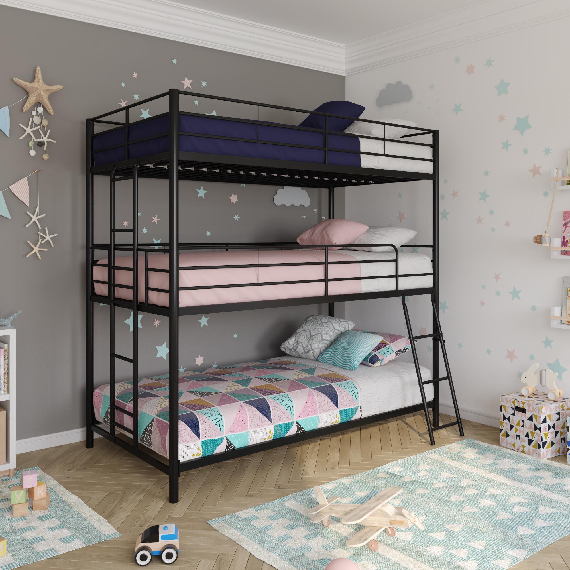 Dhp Metal Triple Bunk Bed Twin Twin Twin Black Walmart Com Walmart Com
