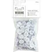 Papermania Ever After Wedding Buttons 200/Pkg-Pearl White 12mm