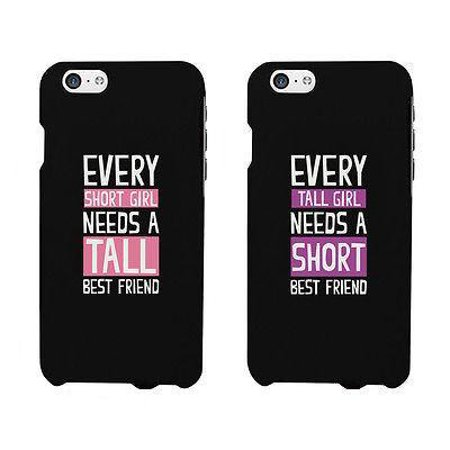 Short And Tall Cute BFF Matching Phone Cases For Best Friends