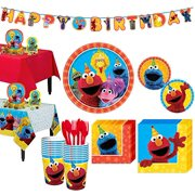 Sesame Street Tableware Party Supplies for 16 Guests with Tableware and Dcor