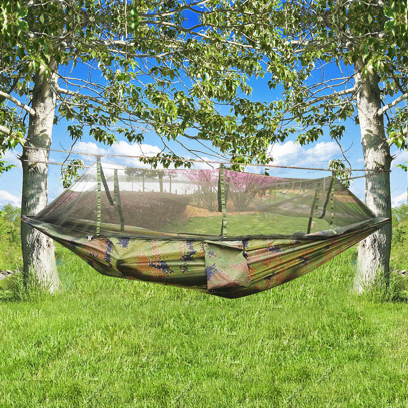Camping Camouflage Hammock Bed with Mosquito Net by